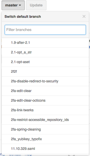 Default branch dropdown selector