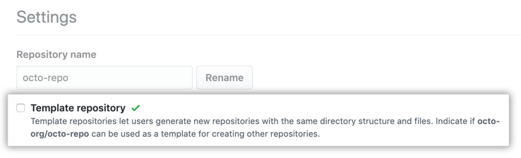 Checkbox to make a repository a template