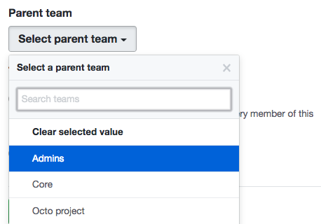 Drop-down menu listing the organization's existing teams