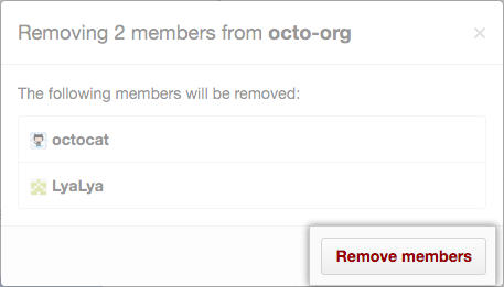 List of members who will be removed and Remove members button