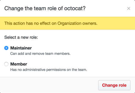 Radio buttons for Maintainer or Member roles