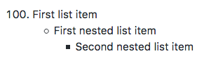 List with two levels of nested items