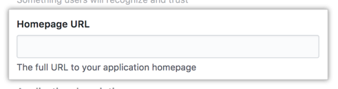 Field for the homepage URL of your app