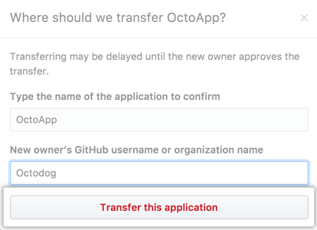 Button to transfer the application