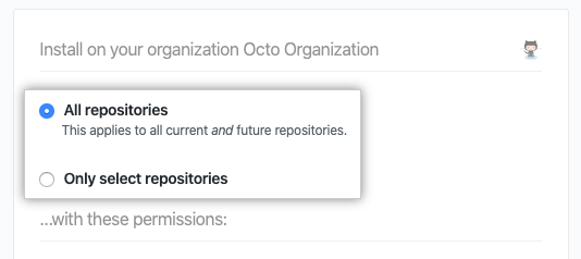 Checkboxes to add all repositories or select repositories