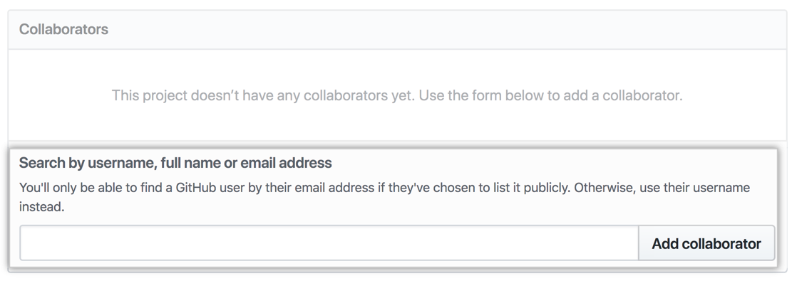 The Collaborators section with the Octocat's username entered in the search field