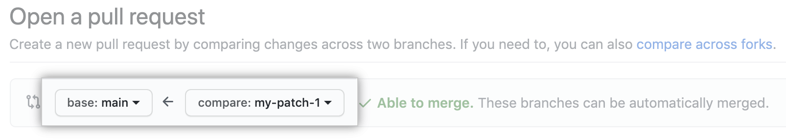 Drop-down menus for choosing the base and compare branches