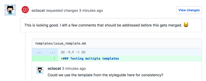 Header of review requesting changes with line comments