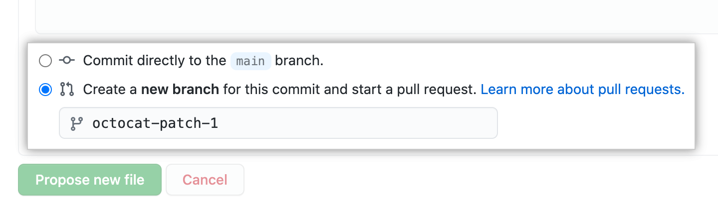 Commit branch options