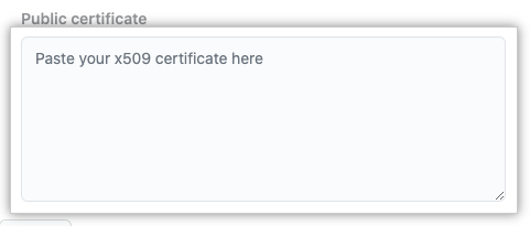Text box for public certificate