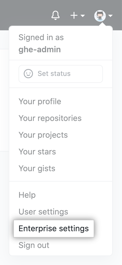 """Enterprise settings"" in drop-down menu for profile photo on GitHub AE"