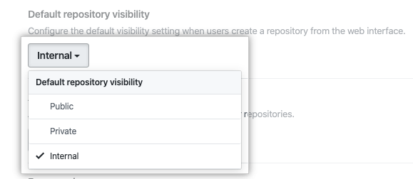Drop-down menu to choose the default repository visibility for your enterprise