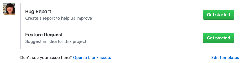 New issue page showing issue template choices