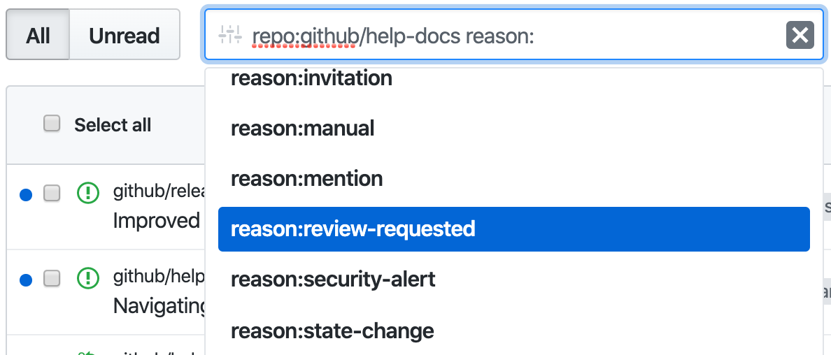 Filter notifications by review requested reason