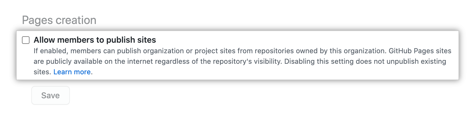 """Unselected checkbox for """"Allow members to publish sites"""" option"""