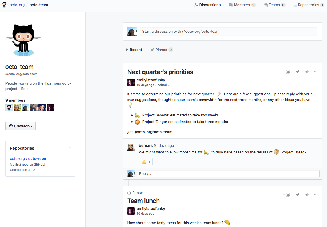 Discussions tab of team page with public and private discussions