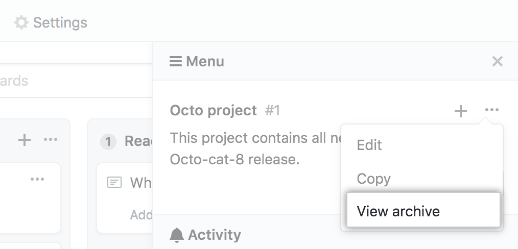 Select view archive option from menu