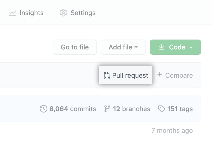 """Pull request"" link above list of files"