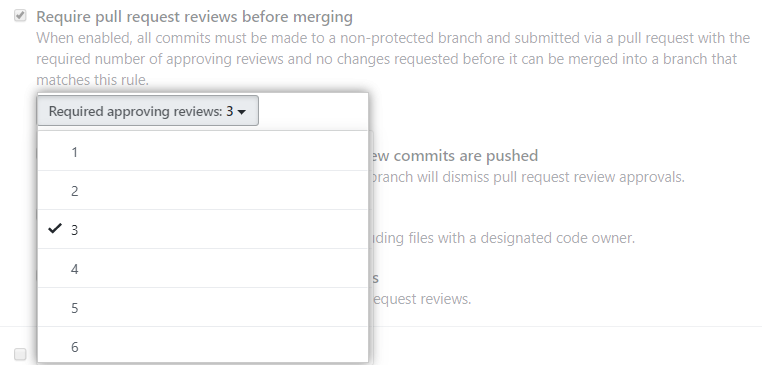 Drop-down menu to select number of required review approvals