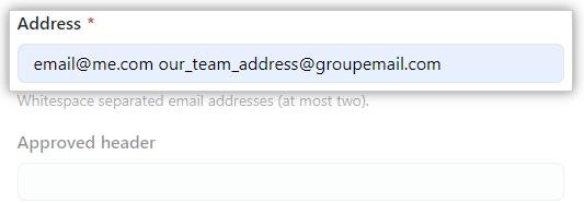 Email address textbox
