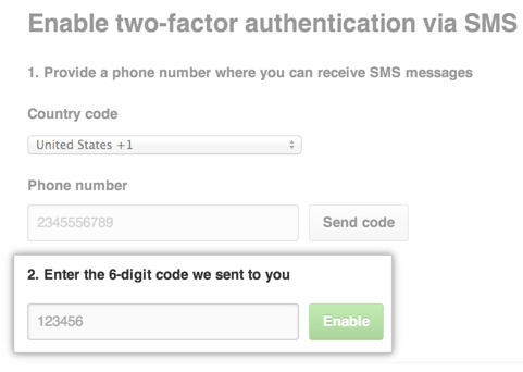 2FA SMS enable field