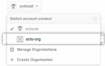 Account Context Switcher dropdown