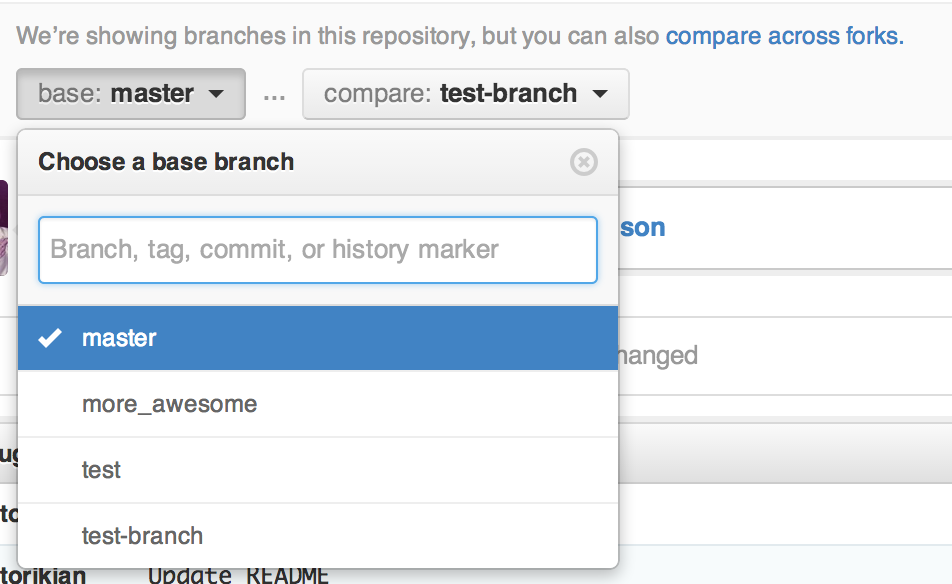Base branch selection dropdown