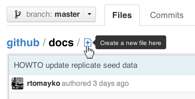 The create new file button on GitHub