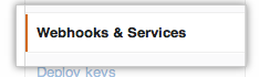 The webhooks and services menu