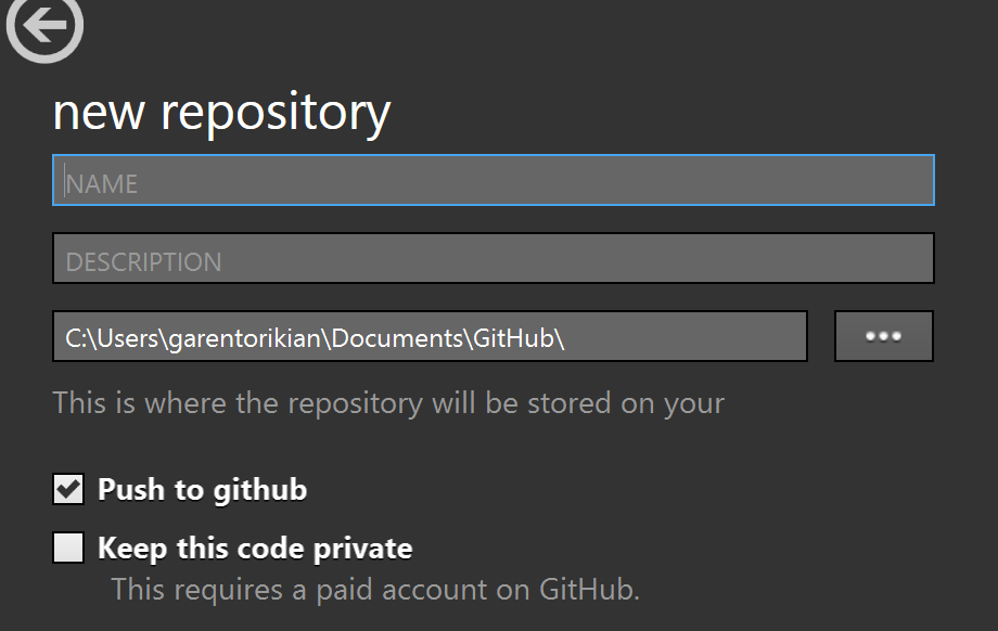 GitHub for Windows new repository button